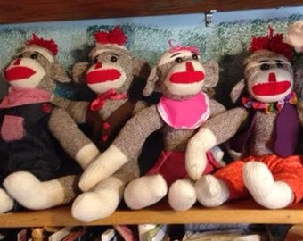 Set of 4 Handmade Sock Monkeys