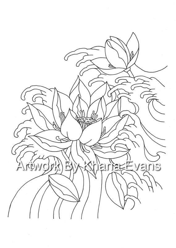 Japanese Lotus Flower Tattoo Design PDF A4 Printout Colouring Page Sheet