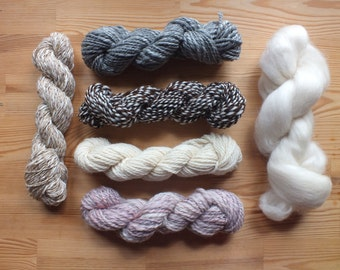 Yarn pack for weaving - hand spun yarns, vintage yarns and roving