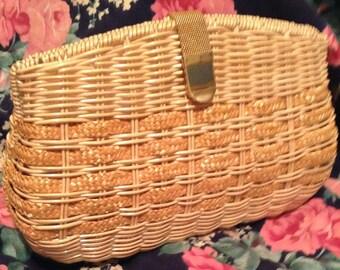 Vintage Wicker Handbag Clutch/Purse NO STRAP
