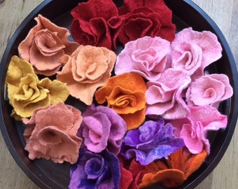 Big felted roses