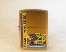 Vintage ZIPPO Lighter /Advertising Camel Powered / Brass Lighter / Unstruck / Never Opened / Racing Car #23 / Mint Condition