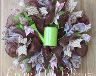Summer wreath, Garden wreath, Burlap wreath, Flower Wreath, summer floral wreath, garden flower wreath, deco mesh wreath, handmade wreath