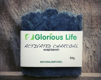 Natural Soap, ACTIVATED CHARCOAL Soap - 1 bar (2.2oz./63g) - Detox Soap, Vegan Soap, Handmade Soap, Facial Soap, Black Soap, Unscented Soap