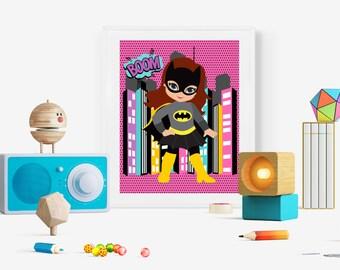 """Superhero Wall Art Print/ Batgirl Print 8""""x10"""""""