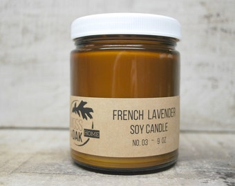French Lavender  Soy Candle    9 oz