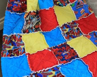 Rag Quilt, Baby Quilt, Crib Quilt, Comic Quilt, Marvel Comics, Spiderman Quilt, Ready To Ship