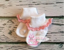 Crochet Lace Crochet Baby Socks, Red, Pink, White, Mint, Blue, Light Purple, Teal, Green, Dark Purple and more colors, Baby Girl Easter Sock