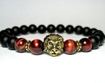 Mens Lion Bracelet, Red Tiger Eye Bracelet, Matte Onyx Bracelet, Stretch Bracelet, Mala Bracelet, Gemstone Bracelet, Mens Beaded Bracelet