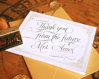 Art Deco Thank You Cards Inspired by Great Gatsby -  Vintage Thank You From the Future Mrs.