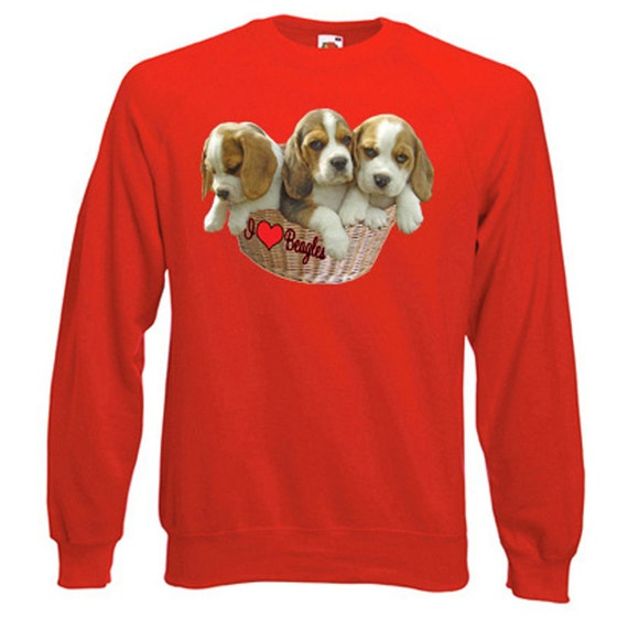 I Love Beagles Sweatshirt. Fleecy Lined Ribbed Cuffs and Neck, Choice of Sizes and Colours