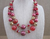Mid-Century Modern 2 Strand Red Beaded Necklace - Retro Style Fashion - Costume Jewelry