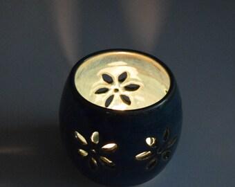 Pottery votive, Candle holder, ceramic votive,  potpourri pot,  hand carved pottery, tea light holder,