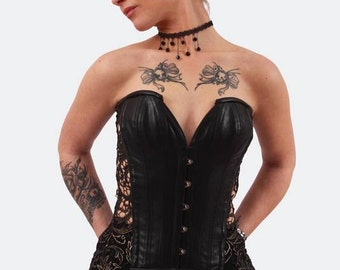 Corset leather & lace