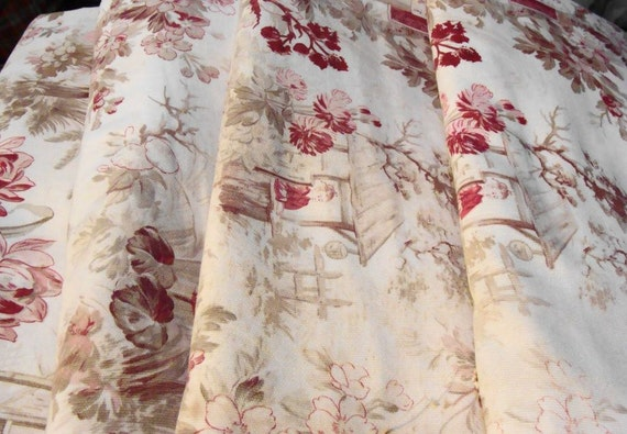 Antique Fabric French Chinoiserie Toile Decorator Fabric