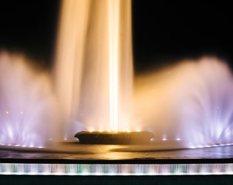 The fountain at night, at Point State Park, in Pittsburgh, Pennsylvania.   Photo Print, Stretched Canvas, or Metal Print.