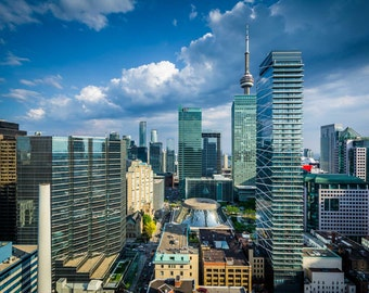 View of modern buildings in downtown Toronto, Ontario. | Photo Print, Stretched Canvas, or Metal Print.