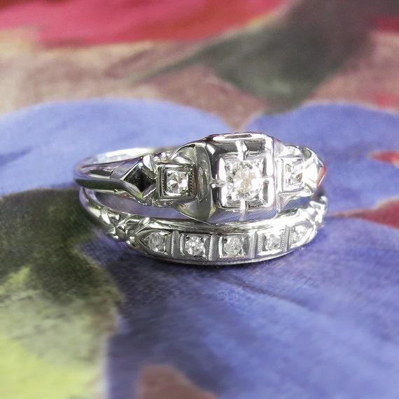 Art Deco 1930s Engagement Wedding Ring Set 11ct Tw Old