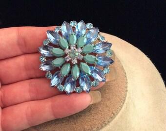 Vintage 3D Shades Of Blue RhInestone Pin
