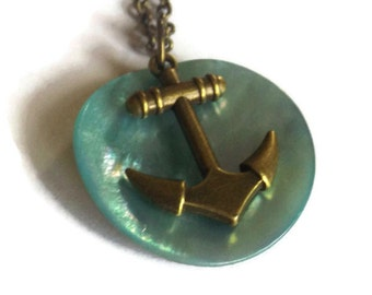 Recycled Anchor and Shell Necklace