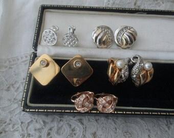 Diamante earrings  x 5 clip ons