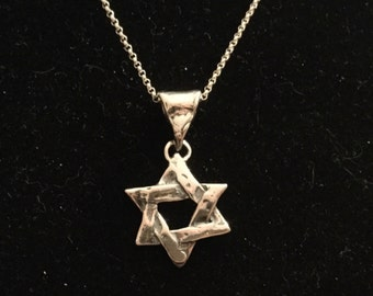 Necklace: Star of David -  Sterling Silver 18""