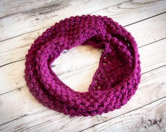 Puff Stitch Infinity Scarf