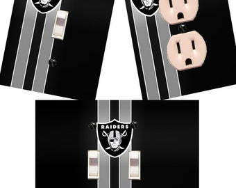 Oakland Raiders Light switch wall plates covers NFL room decor football man cave bedroom bar decor