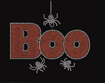 Boo with Spider #2 Rhinestone Iron on Transfer 2UQW