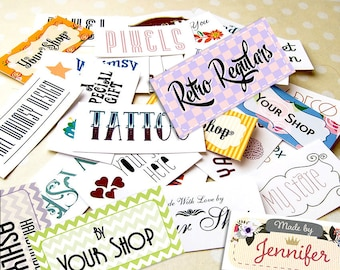 """Custom Fabric Labels • Your Logo • Your Text or Name  • Various Size Tags • 100% Cotton • Colorfast • 2 x 1"""" 80 Labels • Uncut"""