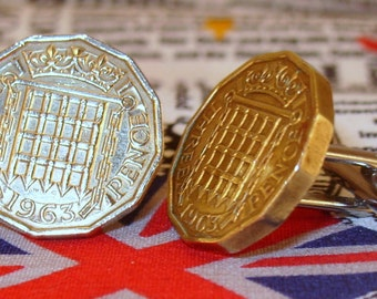 Boxed Pair Vintage British 1963 Threepence 3d Coin Cufflinks Wedding 54th Birthday