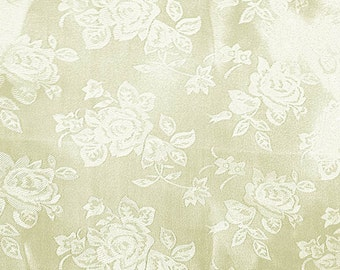 Satin Jacquard Roses Ivory Fabric - Sold By The Yard