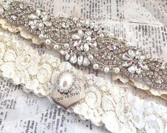 Crystal Garter Set, Vintage Wedding Garter Set - Pearl Wedding Garter, Pearl Garter Set, Garter Set, Vintage Garter, Keepsake Garter