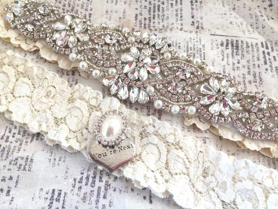 Crystal Garter Set Vintage Wedding Pearl