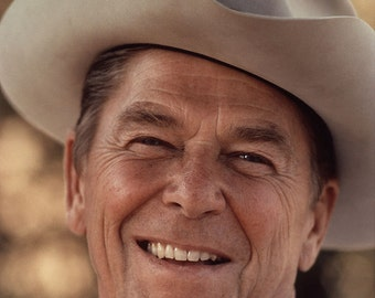 Portrait of President Ronald Reagan, Wearing Cowboy Hat, Photo Print