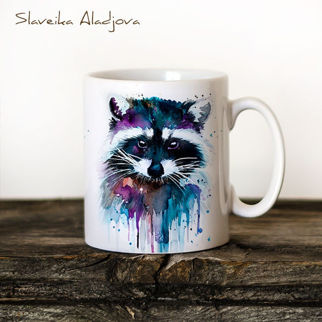 Raccoon Mug Watercolor Ceramic Mug Unique Gift Coffee Mug