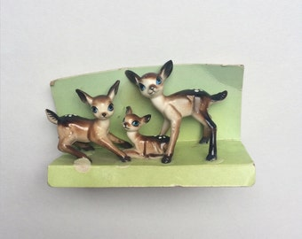 Vintage miniature bambi deers - little fawns, plastic, midcentury, kitsch, Babycham, Japan, figurines, woodland animals, set, collection