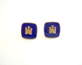 Vintage Cuff Links, Castle Cuff Links, Blue Cuff Links, Gold Cuff Links, Square Cuff Links, Cobalt Blue Cuff Links, Wedding Cuff Links