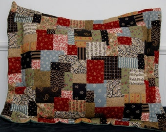 Patchwork Pillow Quilted by Hand
