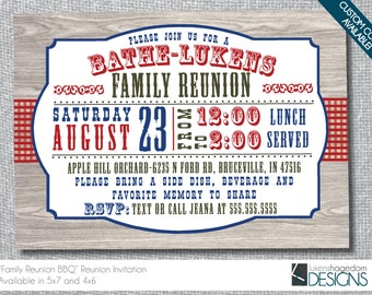 Family Reunion BBQ Invitation-Digital File-Custom Colors