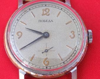 Vintage Russian mens mechanical wrist watch POBEDA, 16 jewels #v812