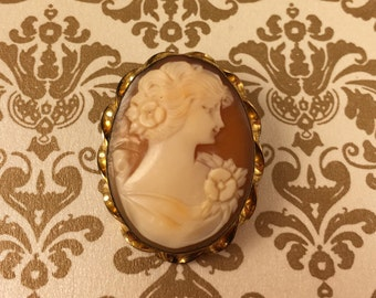 1930's Gold Filled Marked Carved Shell Cameo Brooch Pendant