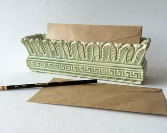 Green Coventry ceramic rectangular planter