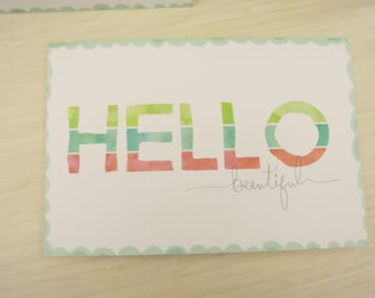 Hello, Beautiful set of 5 cards with envelopes *Discounted*