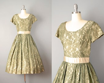 SALE: 50s Dress // 1950's Moss Green Lace Dress // M