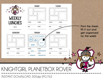 Instant Download Lunch Planner - KnightGirl PlanetBox Rover