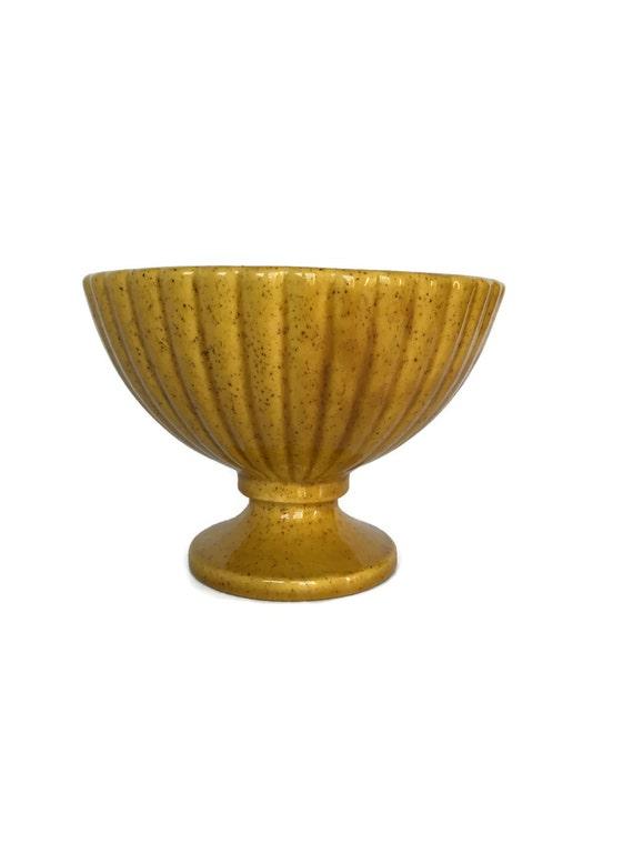 Vintage Haeger pedestal planter gold ribbed ceramic urn planting bowl