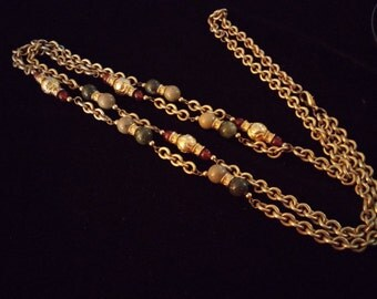 Extra long Carnelian and Gold Tone Chain