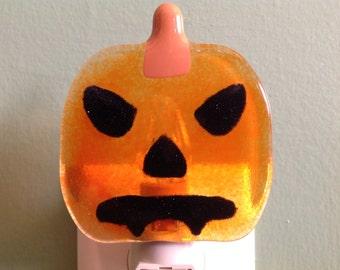 Jack-O-Lantern, Pumpkin, Fused Glass, Dracula, Night Light