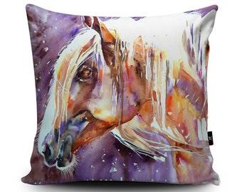 Horse Pillow, Horse Cushion, Artwork Horse, Purple Cushion Cover, Purple Horse Pillow Case Furnishings for Horse lovers, Faux Suede Cushion